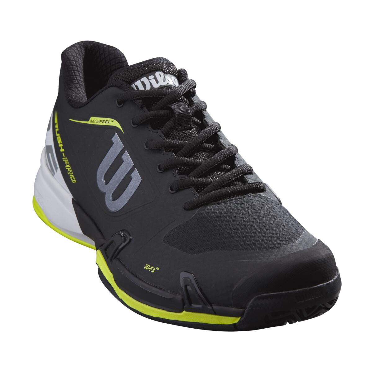 Wilson Rush Pro 2.5 AC Mens Tennis Shoes – Black/White/Lime Popsicle