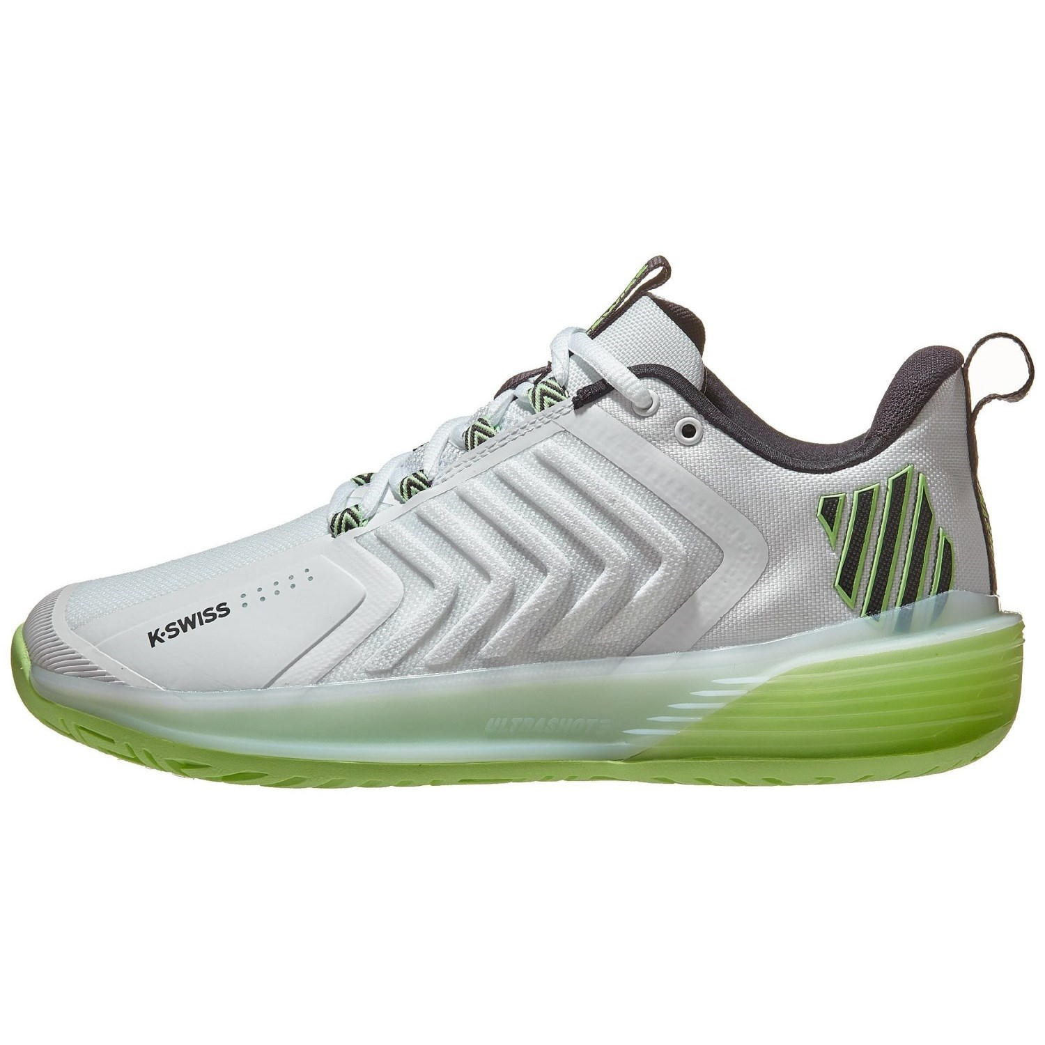 K-Swiss Ultrashot 3 Mens Tennis Shoes – White/Soft Neon Green/Blue Graphite